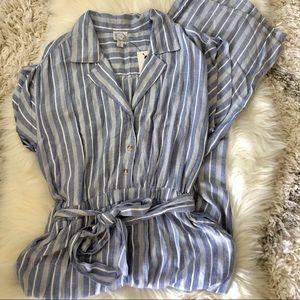 Francesca's Blue and White Striped Jumpsuit